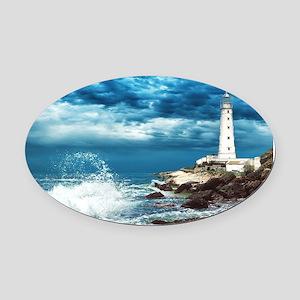Lighthouse Oval Car Magnet