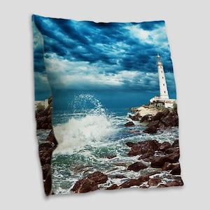 Lighthouse Burlap Throw Pillow