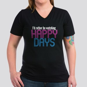 Happy Days Women's V-Neck Dark T-Shirt