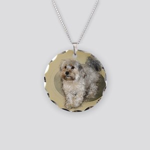 Morkie Necklace Circle Charm