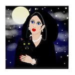 HALLOWEEN GIRL & CAT VAMPIRE Tile Coaster