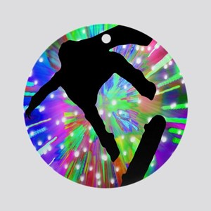 Skateboard Flip Out in Fireworks Ornament (Round)