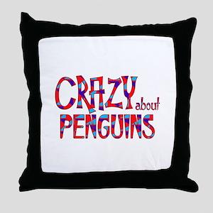 Crazy About Penguins Throw Pillow