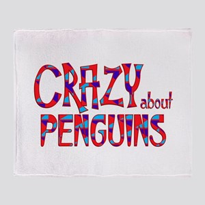 Crazy About Penguins Throw Blanket