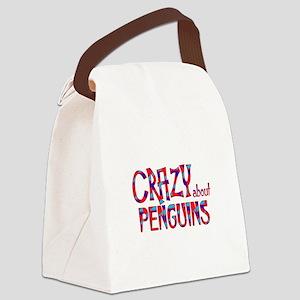 Crazy About Penguins Canvas Lunch Bag