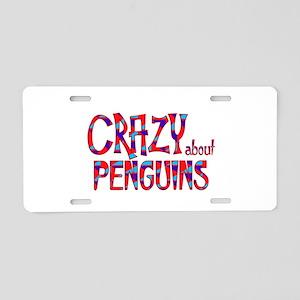 Crazy About Penguins Aluminum License Plate