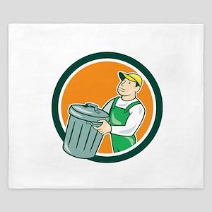 Garbage Collector Carrying Bin Circle Cartoon King