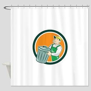 Garbage Collector Carrying Bin Circle Cartoon Show