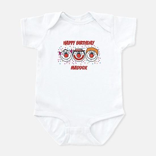 Happy Birthday MADDOX (clowns Infant Bodysuit