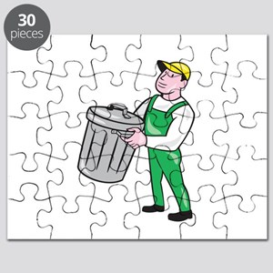 Garbage Collector Carrying Bin Cartoon Puzzle