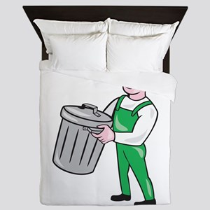 Garbage Collector Carrying Bin Cartoon Queen Duvet