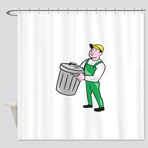 Garbage Collector Carrying Bin Cartoon Shower Curt