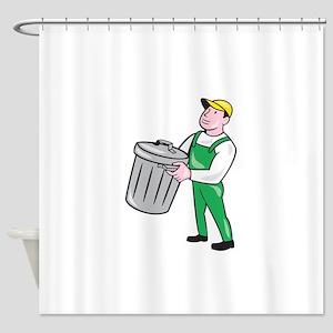 Garbage Collector Carrying Bin Cartoon Shower Curt