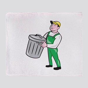 Garbage Collector Carrying Bin Cartoon Throw Blank