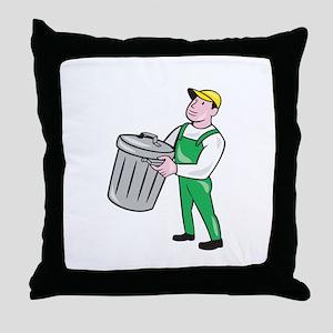 Garbage Collector Carrying Bin Cartoon Throw Pillo