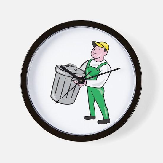 Garbage Collector Carrying Bin Cartoon Wall Clock