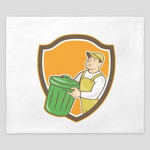Garbage Collector Carrying Bin Shield Cartoon King