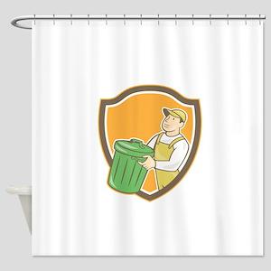 Garbage Collector Carrying Bin Shield Cartoon Show