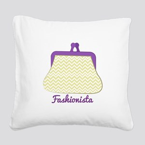 Fashionista Purse Square Canvas Pillow