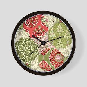 Christmas Quilt Pattern Wall Clock