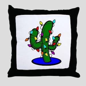 Christmas Tree Cactus Throw Pillow