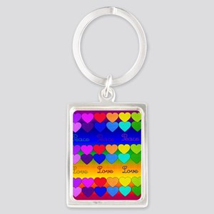 Rainbow Of Peace and Love Portrait Keychain
