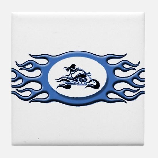 Biker Chick - Blue Tile Coaster