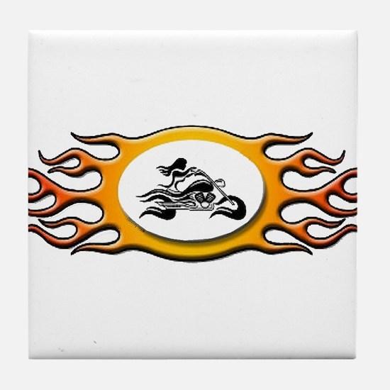 Biker Chick -Yellow Tile Coaster