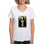 Mona's fawn/red Chihuahua Women's V-Neck T-Shirt