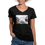 Creation / Chihuahua Women's V-Neck Dark T-Shirt