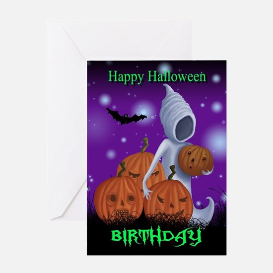 Halloween greeting cards cafepress halloween birthday ghost card greeting cards bookmarktalkfo Image collections