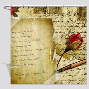 Vintage Letter With Rose Paper Shower Curtain