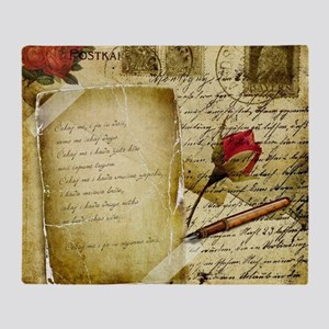 Vintage Letter With Rose Paper Throw Blanket