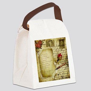 Vintage Letter With Rose Paper Canvas Lunch Bag