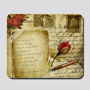 Vintage Letter With Rose Paper Mousepad
