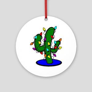 Christmas Tree Cactus Round Ornament