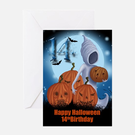 14th Birthday Halloween Card Greeting Cards
