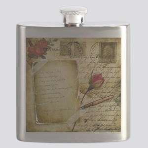 Vintage Letter With Rose Paper Flask