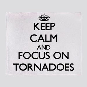Keep Calm by focusing on Tornadoes Throw Blanket