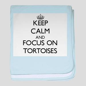 Keep Calm by focusing on Tortoises baby blanket