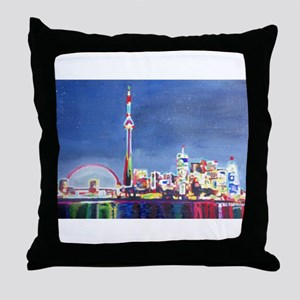 Toronto Neon Shimmering Skyline With Throw Pillow