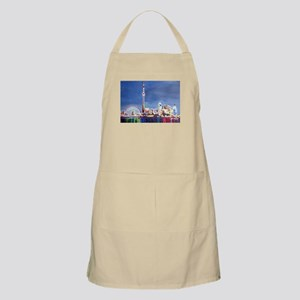 Toronto Neon Shimmering Skyline With Cn Towe Apron