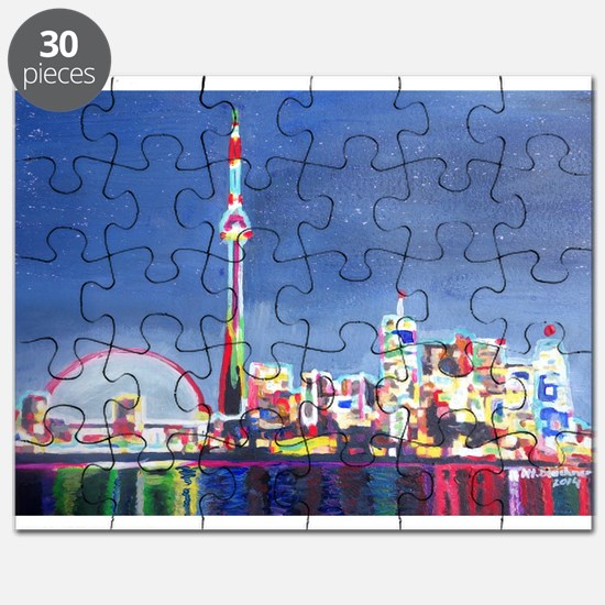Toronto Neon Shimmering Skyline With Cn Tow Puzzle