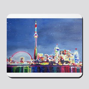 Toronto Neon Shimmering Skyline With Cn Mousepad