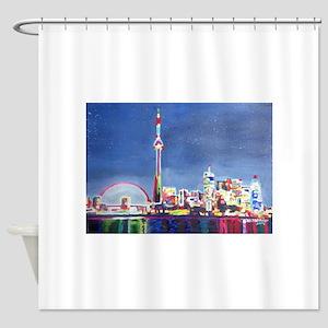 Toronto Neon Shimmering Skyline Wit Shower Curtain