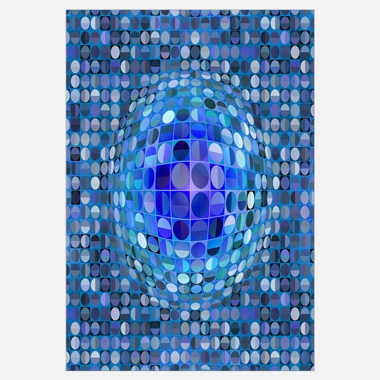 Optical Illusion Sphere - Blue Wall Art