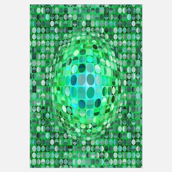 Optical Illusion Sphere - Green Wall Art