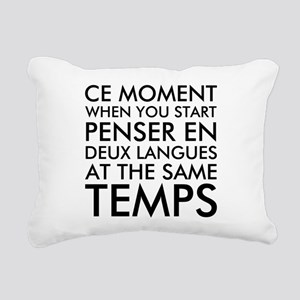 Thinking in French and E Rectangular Canvas Pillow