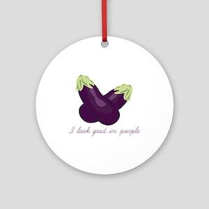 Purple Veggie Ornament (Round)