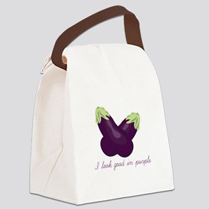 Purple Veggie Canvas Lunch Bag